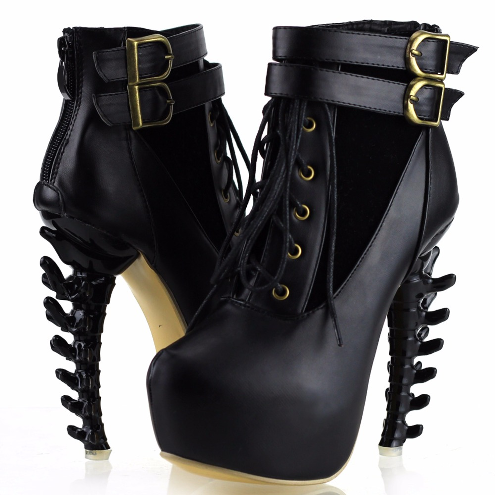 LF40601 Punk Lace Up Buckle High-top Bone High Heel Platform Ankle Boots<br>