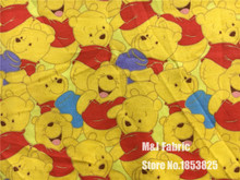 50*165CM Bear Winnie the Pooh knitting Cotton Fabric Printed Tissu Telas DIY Patchwork Sewing Quilts Baby girl Clothing(China)