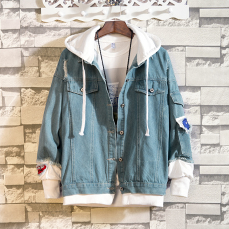 2019 Men Autumn Hooded slim Denim Jackets Jean Coats Good Quality Men Cotton Holes Denim Coats Fashion Jean Jackets Size S-2XL