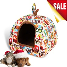Hot Fleece Soft Pet Yurt Home Dog Bed Puppy Dog Kennel Pet Bed House For Dog Cat Small Animals Home Dog House With Mat Chihuahua