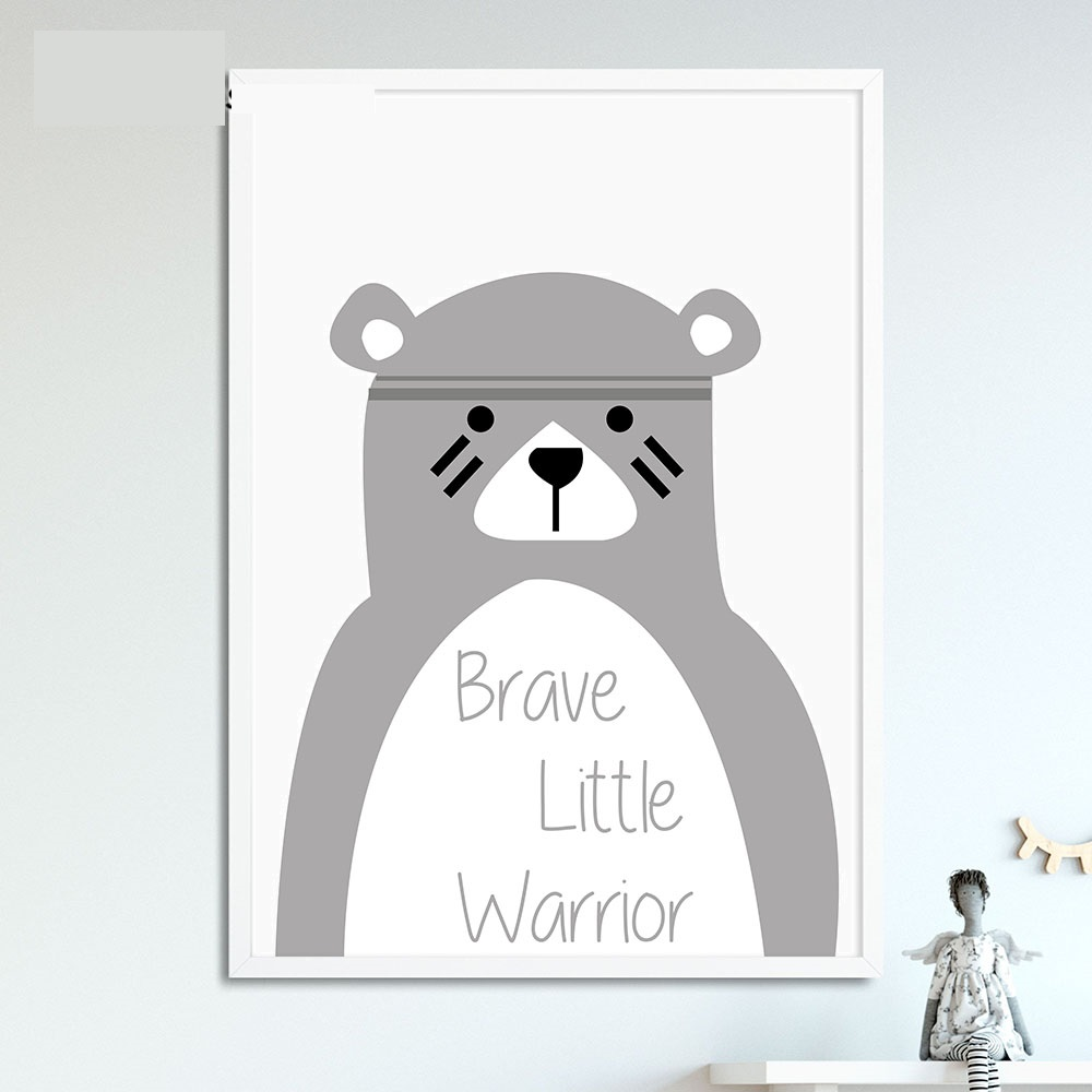 Tribe-Bear-Wall-Art-Canvas-Posters-Cartoon-Nursery-Prints-Nordic-Style-Painting-Wall-Pictures-Children-Bedroom(4)