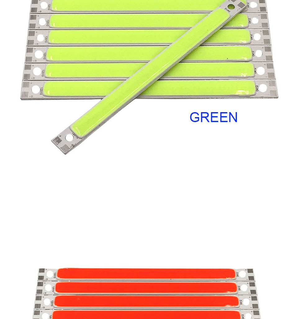 120mm 4.72in LED Bar Light Strip COB Bulb 12V 7W 10W LED Lamp Green Blue Red White Emitting Colors 12010mm COB Chip (10)