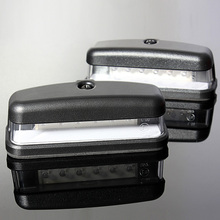 2x LED License Rear Number Plate Light Truck Trailer Lamp 10-30V E11 Caravan VAN 6LED Emark Waterproof