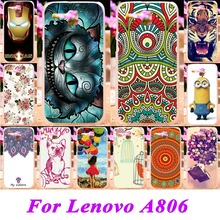 Soft Silicon TPU or Plastic Phone Skin Cases For Lenovo A8 A806 A808T A808 Cases 18 Style Painted Protective Durable Back Covers