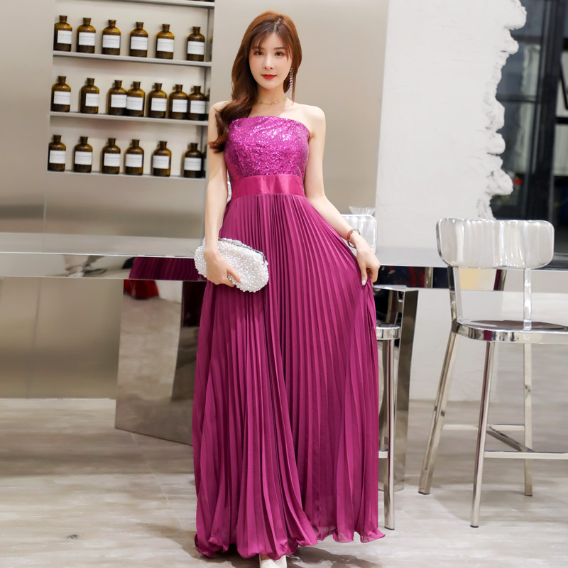 Sexy strapless elegant sequins chiffon pleated long evening dress high quality fashion dress elegant dress blind date dress