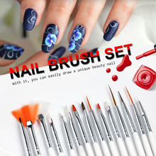 15Pcs Nail Art Brush Dotting Painting Nails Pen Nail Brush Decorations Set Tools For False Drawing Gel Polish Brushes DOTS