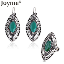 New Arrival Green Resin Stone Thai Silver Pierced Earrings Rings Personality Geometric African Vintage Jewelry Set