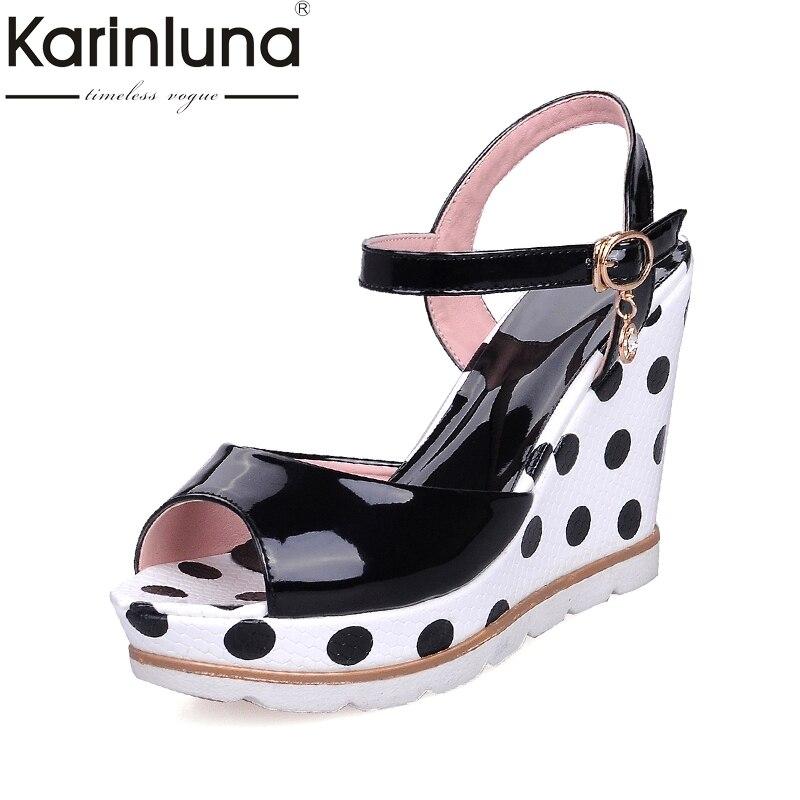 Karinluna Hot Sale Size 33-41 Peep Toe Wedge high-heeled Women Shoes Sandal Fashion Ankle Strap Platform Party Shoes Woman<br>