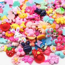 100pcs Mix Patterns Cute Resin Cartoon Character/Fruit/Flower Flatback Cabochon DIY Hair Bow Center Scrapbooking(China)