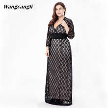 Wangcangli Large size European and American V-neck evening gown with black hollowed-out sleeve lace dress plus size XXL-6XL(China)
