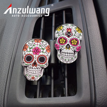 ANZULWANG Color Skull Flower Car Style Air Freshener Acrylic Car Air Condition Vent Fashion Punk Modern Cars Air Outlet Perfume(China)