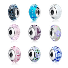 32 Styles Real 925 Sterling Silver Effervescence Murano Glass Beads Fit Original pandora Charm Bracelet Authentic S925 Jewelry(China)