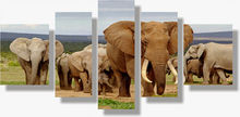 BANMU 5 Panel Modern Elephant Canvas Painting Canvas Art African Landscape Picture Cuadros Decoracion For Living Room Unframed(China)