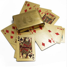 1 Set Durable Golden Playing Cards Set 24K Waterproof Plastic Gold Foil Poker Games Gift Collection Leisure Casino Magic Cards(China)