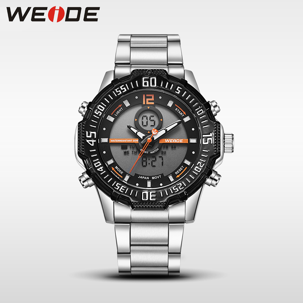 Weide casual genuine watch luxury brand quartz sport watches stainless steel analog men  larm clock relogio masculino Schocker<br>