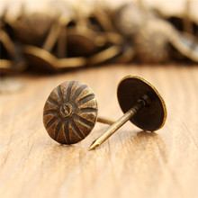 100pcs Antique Brass Upholstery Nail Jewelry Gift Wine Case Box Sofa Decorative Tack Stud Pushpin Doornail Hardware 10x16mm(China)