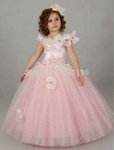 Pink Appliques Cap Sleeves Holy Communion Girls Dresses Kids Floor Length Bead Puffy Tulle Ball Gowns 0-14 Year Old Dresses 2017