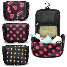 Lady Wash Bag Travel Toiletry Cosmetic Make Up Kiss&Dots Black Zipper Fashion Organizer Pouch Storage Bags wholesale