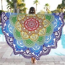 1pcs 135cm Bohemian Round beach towel Lotus Table cloth camping Yoga Mat Blanket Beach Towels Sleeping Pad mother's day gift(China)