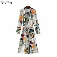Vadim women elegant floral kimono coat open stitch sashes long sleeve outerwear ladies casual fashion long tops CT1474