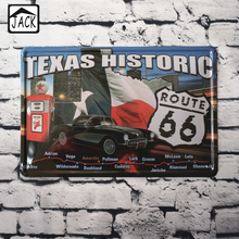 Route US 66 Texas Historic for Metal Poster Wall Decor Retro Bar Tin Sign Painting 20*30 CM Mix Items