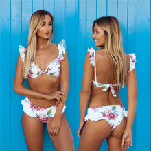 YCDKK 2017 bikini brazilian Women Swimsuit Ruffle Shoulder Bikini Set Pad Vest Bikini Low Waist Bandage Swimwear Flower Print(China)