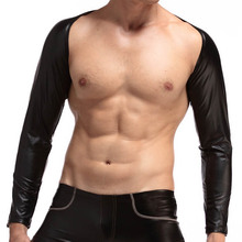 Mens Sexy faux leather crop tops long Sleeves Tank Tops Male gay bar Stage performance Black sleevelet Novelty wear