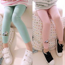 Baby Girls Stretch Leggings Skinny Pants Cute Bird Print Toddler Child Candy Color Trousers Hot Sell