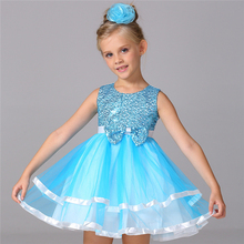 2016 Little Girls Dresses Kids Blue Princess Dress Girls Sequin Clothes Formal Dress Girl Prom Dress with Bow Children Clothing
