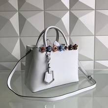 2017 latest white color genuine cow skin women bag medium tote women handbag, leather flower silver pyramid stud women handbag