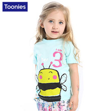 2017 T-shirts Children's T-shirt Cartoon Bee Lovely Printed Girls Cotton T Shirt Summer Popular Short Sleeved Top High Quality