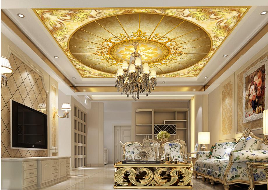 Home Decoration 3d ceiling murals wallpaper European Golden Flower 3D Ceiling wallpaper 3d ceiling<br>