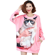 Big Size Women Jumpers 4XL 5XL 6XL 2017 Autumn 3D Print Cat Women Hoodies Plus Size  Long Sleeve Loose Long Female Sweatshirt