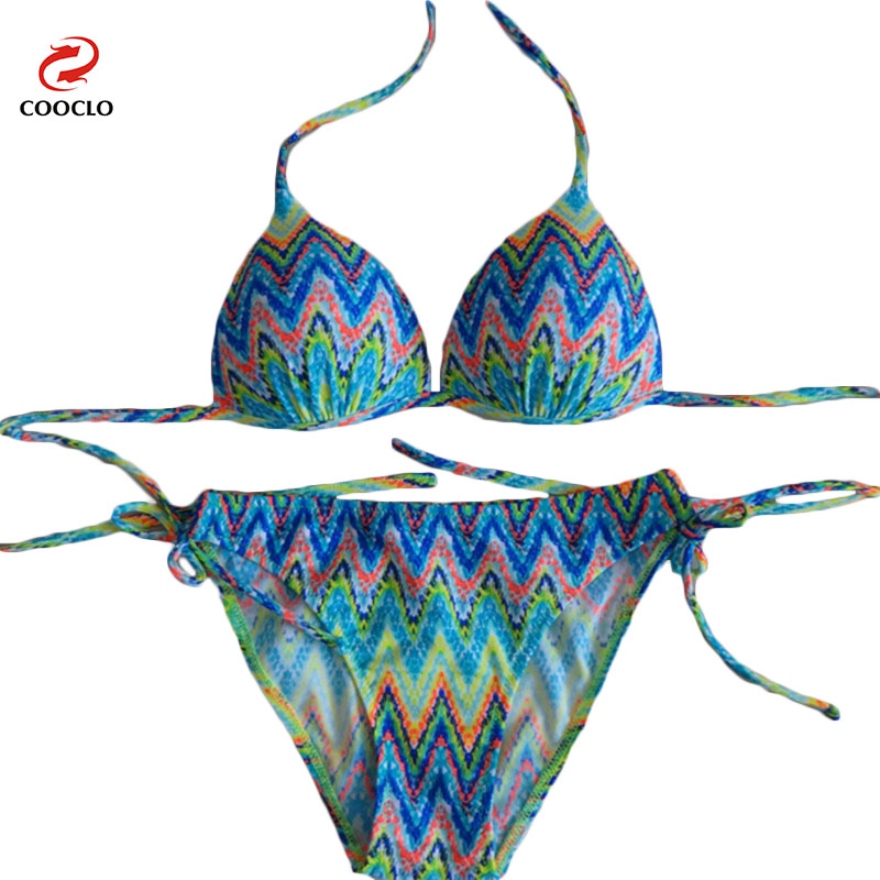 Print  Wave Stripe Sexy Halter Bikini Women Swimwear Swimsuit Strappy Bathing Suit Biquinis Feminino<br><br>Aliexpress