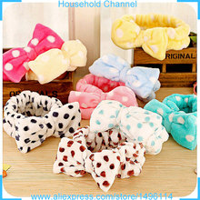 Cute Lovely Bow-knot Head Wash Towel baby girl elastic Headband sports yoga woman accessories Bath hair bundle FreeShipping
