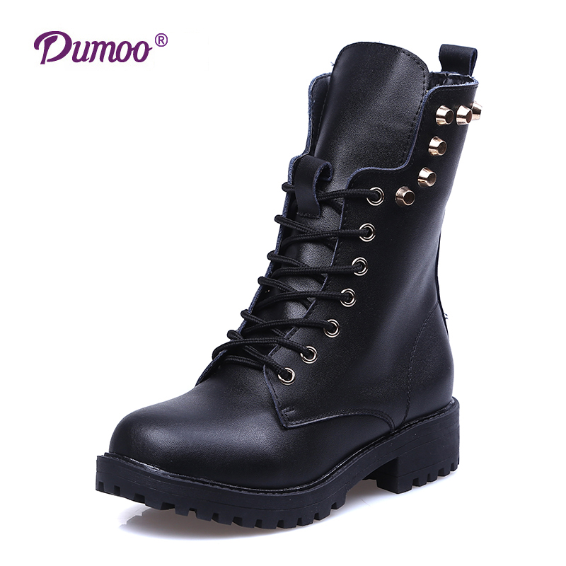 Brand Sale Unisex Martin Boots Women/Men Genuine Leather Boots Shoes Mid-Calf Round Toe Lace Up 2016Winter Boots Plus Size 34-43<br><br>Aliexpress