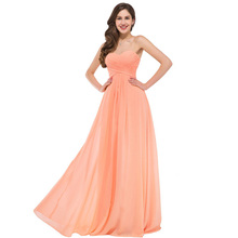 Elegant Sweetheart Chiffon Evening Dresses Long Formal Gown 2017 Lace-up Back Party Dresses Orange Evening Dress Robe De Soiree