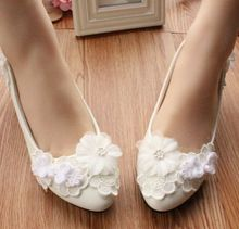 3CM low HEEL wedding shoes white for woman, lace flowers bridal hand made delicate party pump shoes, bridesmaid shoe womens