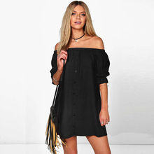 2017 Women Summer Dress Sexy Beach Off-Shoulder Black Short Dresses Party Casual Boho New Fashion Shirt LD92 - MISSHANG store