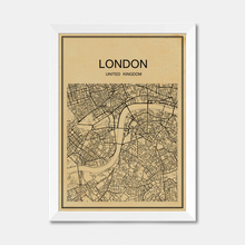 London road map CITY World poster abstract Coated paper print bar Retro poster cafe decoration pub living room painting 42x30cm