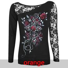 Fashion Women Blouse Sexy Skull Print Long Sleeve Shirt Lace Patchwork Tops Pullovers Black Plus Size S-5XL Women Clothes 7915C(China)