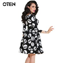 OTEN Summer dress elegant Vintage Ball Gown Skulls print 50s 60s rockabilly pinup Evening Party large size Clothes womens 2017(China)