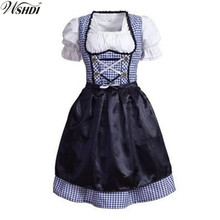Oktoberfest Beer Festival October Dirndl Maid Fancy Dress Apron Blouse Gown German Wench Costume Cosplay Adult Halloween Uniform