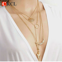Ladies chains for necklaces Pendant Necklace Cheap Circular Arrow Multi Layer Necklace Sexy Angel Wing Maxi