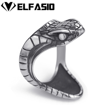Elfasio Mens Boys Stainless Steel Ring Silver Viper Snake Serpent Cobra Biker Jewelry Size 7-13(China)