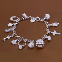 Free shipping 925 jewelry silver plated jewelry bracelet fine fashion 13 charm bracelet wholesale and retail SMTH144