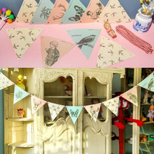 3pcs x 1.8M Copper Paper 12 Artificial Animal Classic Flag Bunting Garland Banner Kid wedding Church Decor Background