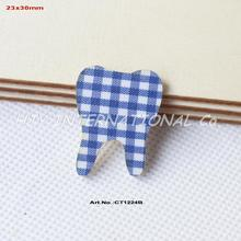 "(100pcs/lot) 30mm Baby Shower Tooth Ornaments-Blue Checked  Fabric Topper Wood Back Bulk 1.2""-CT1224B"