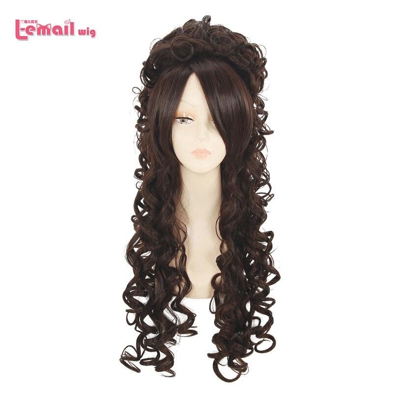 L-email wig Pruiken Lang Haar 80 cm Long Curly Brown Marie Antoinette Anime Cosplay Wigs Dark Brown Wig With Bangs<br><br>Aliexpress