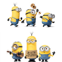 Minions wall decals Kevin Bob Stuart 3d vinyl stickers kids bedroom nursery school room decoration anime posters cartoon murals(China)